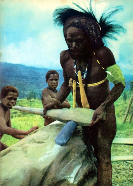 A Dani tribesman sharpening his stone axe